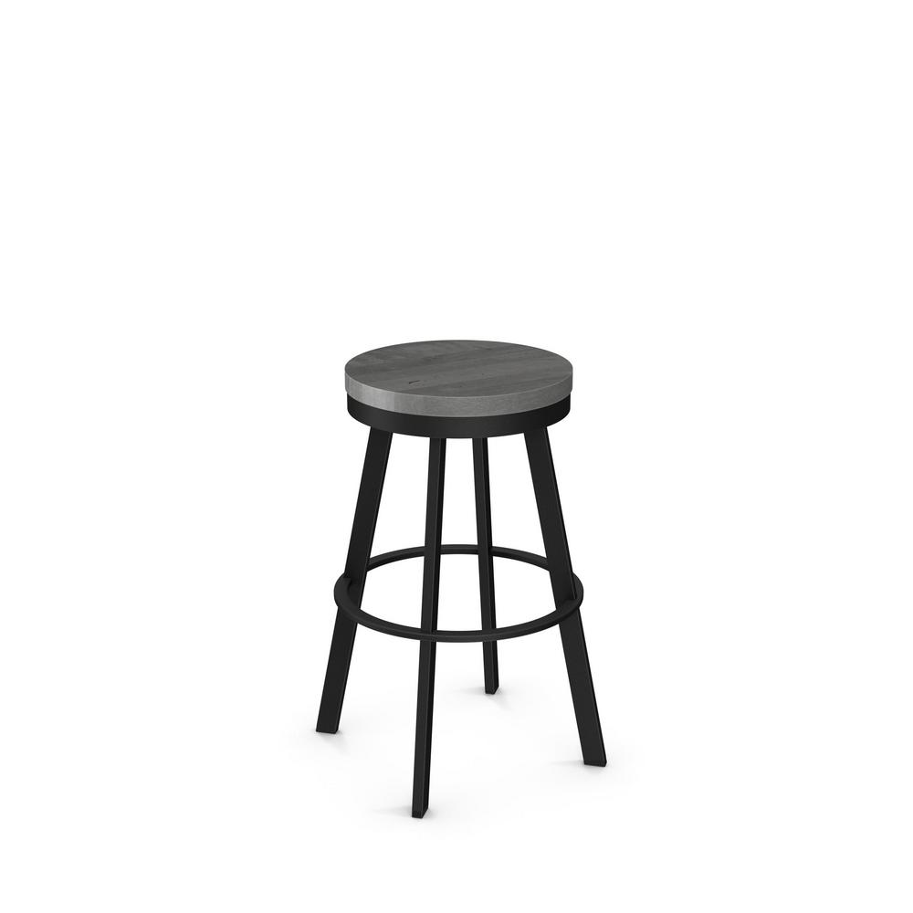 Warner 26 In Black Metal Grey Wood Counter Stool 42244 262589