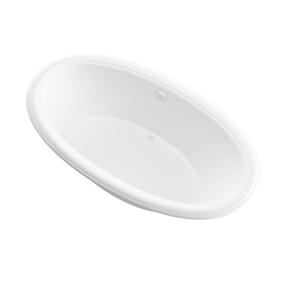 Universal Tubs Topaz 6.5 ft. Acrylic Center Drain Oval Drop-in Non-Whirlpool Bathtub in White