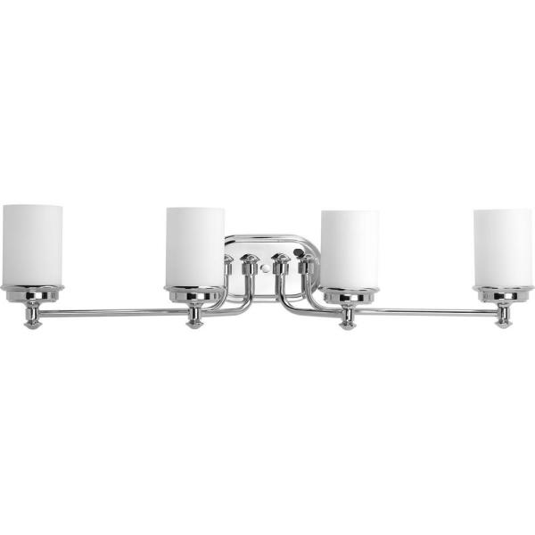 Glide Collection 4-Light Polished Chrome Bathroom Vanity Light with Glass Shades