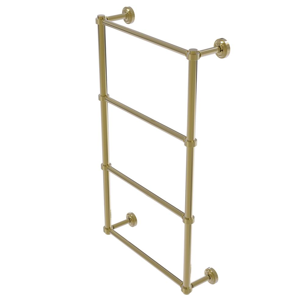 Allied Brass Dottingham Collection 4-Tier 30 in. Ladder Towel Bar with Groovy Detail in Unlacquered Brass