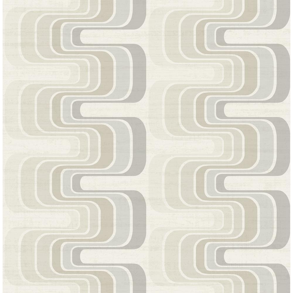 Seabrook Designs Fonzie Metallic Gold and Gray Ribbon Wallpaper