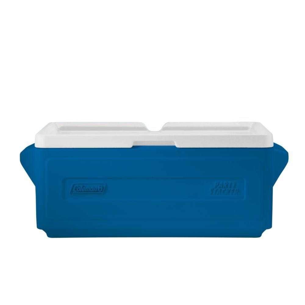 Coleman 24 Can Party Stacker Cooler Blue 3000005354 The Home Depot