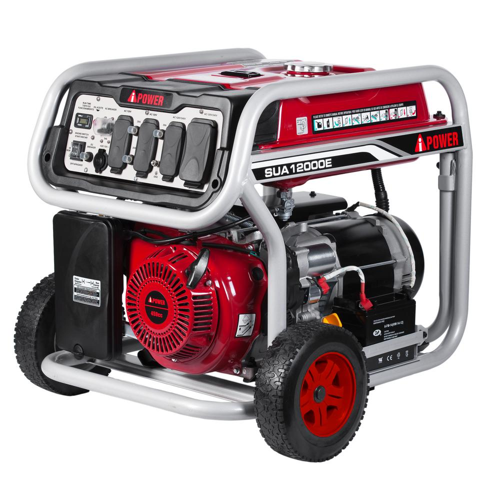 12,000-Watt Gasoline Powered Electric Start Portable Gene...