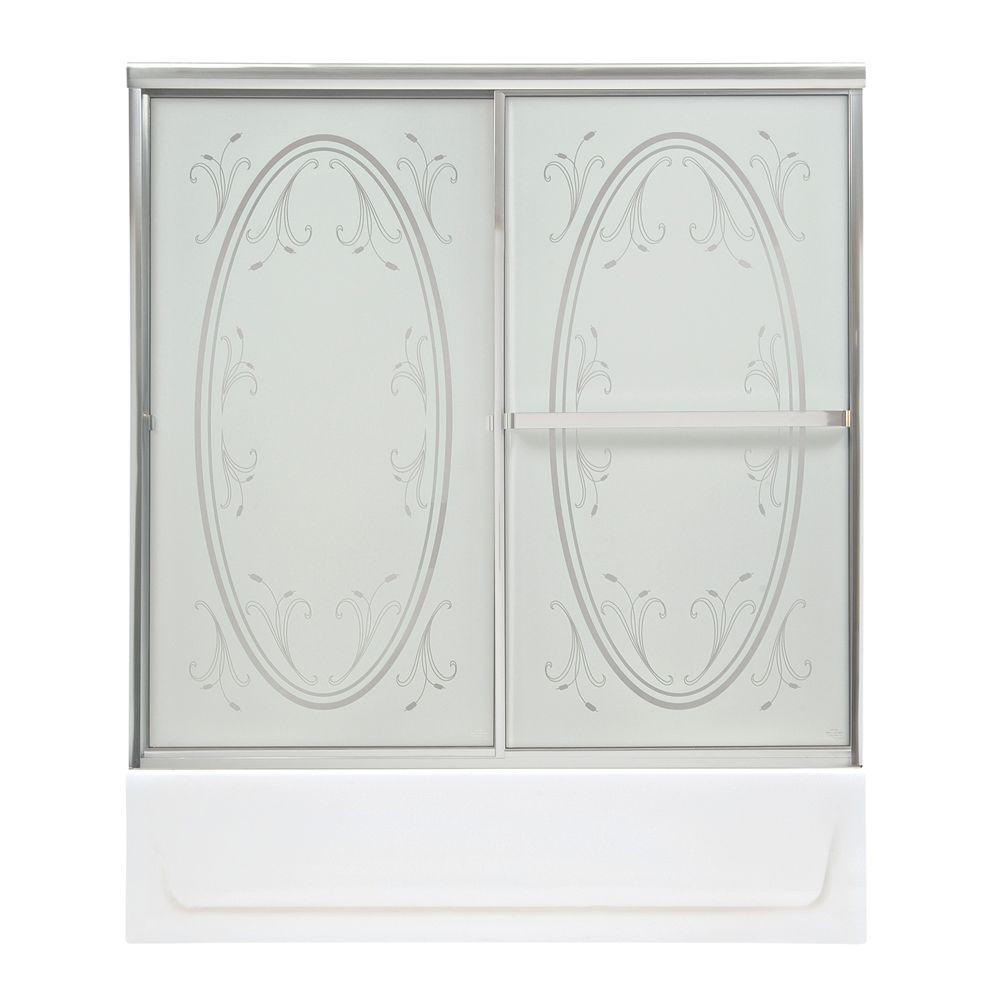 MAAX Vertiga 59 in. x 57 in. Sliding Tub/Shower Door in Chrome with Summer Breeze Glass