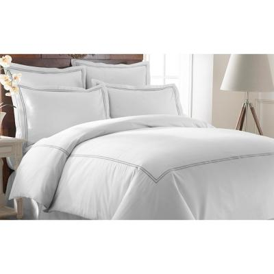 600-Thread Count 3-Piece Double Marrowing Graphite Queen Duvet Set