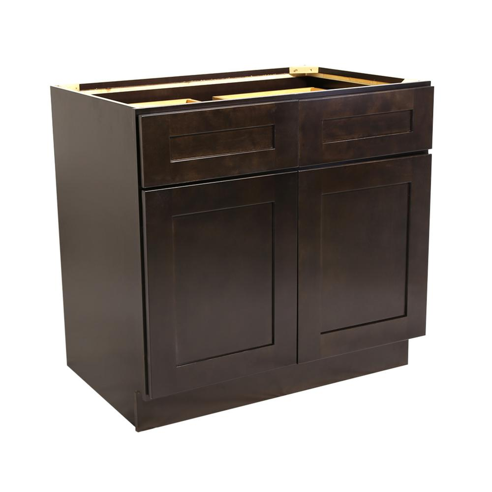 Ready to Assemble 36x24x34-1/2 in. Brookings Shaker Style 2-Door 2-Drawer Base