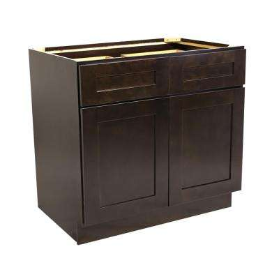 Ready to Assemble 36x24x34-1/2 in. Brookings Shaker Style 2-Door 2-Drawer Base Cabinet in Espresso