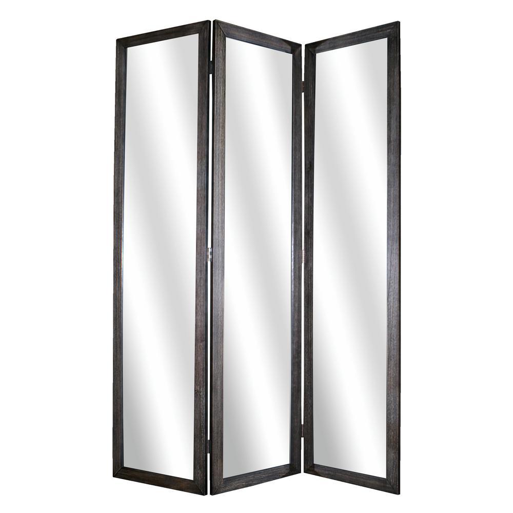 MIRRIOR 5.5 ft. Distressed Black 3-Panel Room Divider