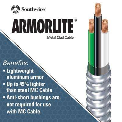 10/2 x 125 ft. Stranded CU MC (Metal Clad) Armorlite Cable