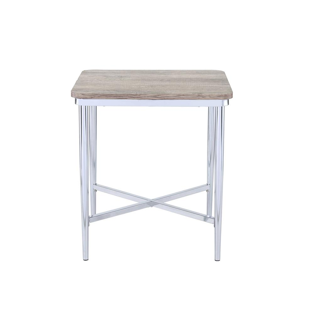 Lukey Gray Oak and Chrome End Table