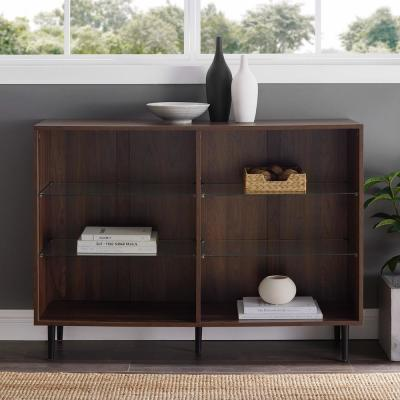 34 in. Dark Walnut Wood 6-shelf Standard Bookcase with Adjustable Shelves