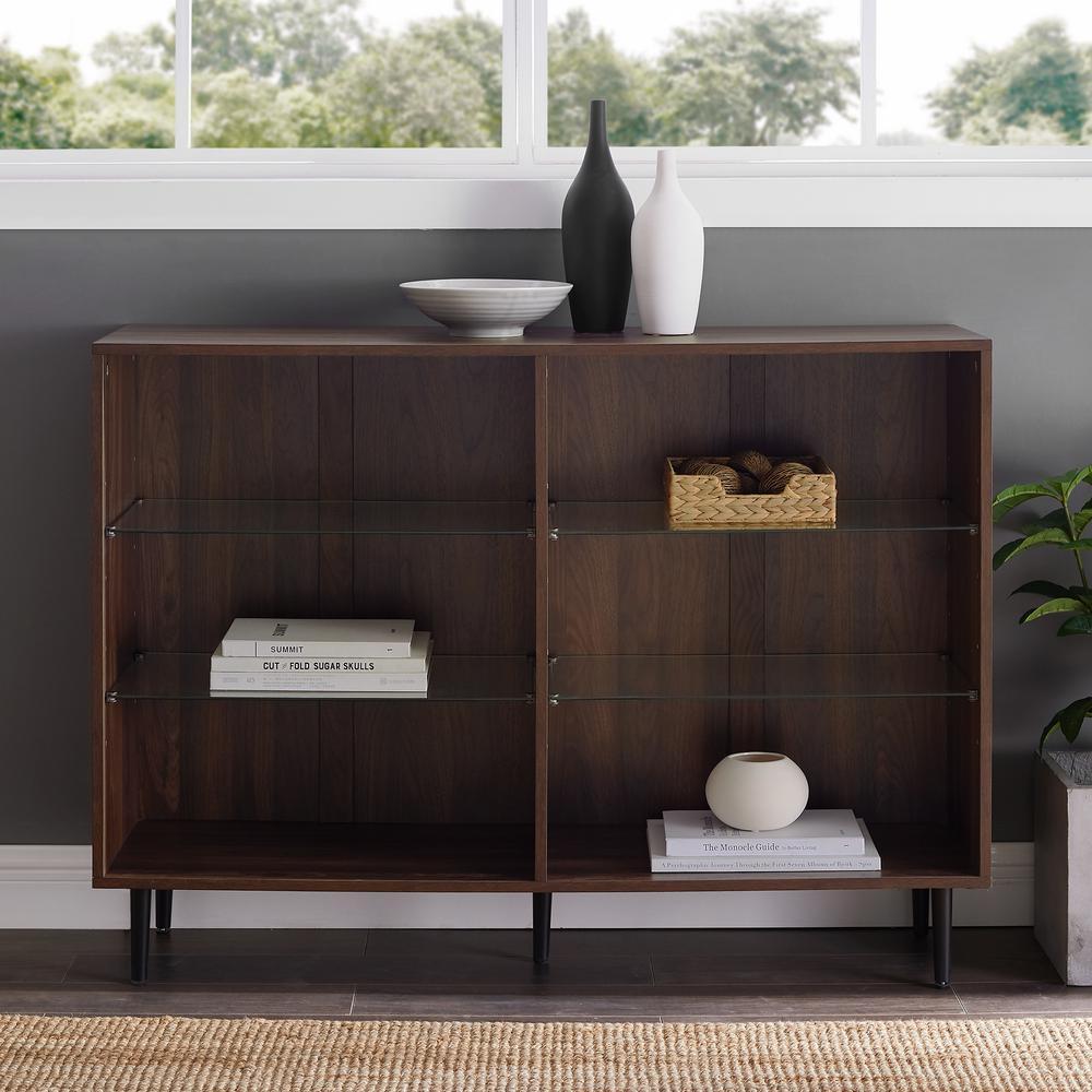 34 in. Dark Walnut Wood 6-shelf Standard Bookcase with Adjustable Shelves