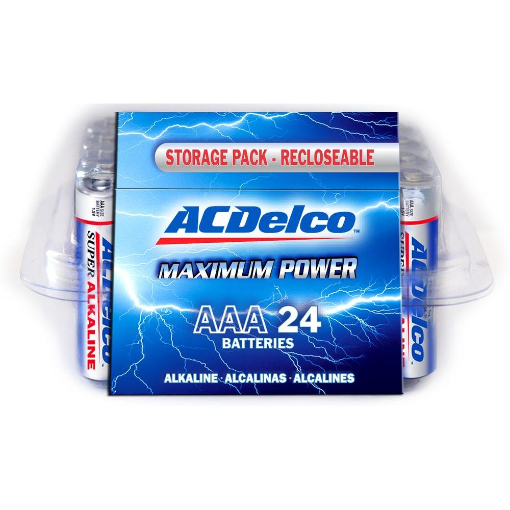 acdelco super alkaline aaa battery 24 pack ac252 the home depot. Black Bedroom Furniture Sets. Home Design Ideas