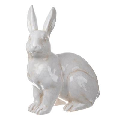 Distressed White Hector Gazing Long Eared Rabbit Statuette