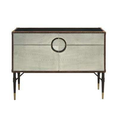 Rosy Brown Top Grain Leather and Aluminum Console Table