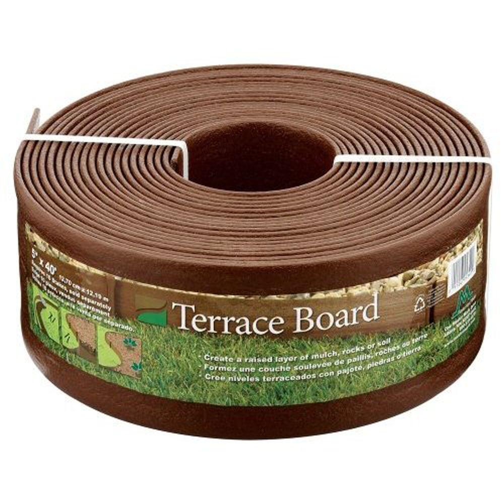 Master Mark Terrace Board 5 In. X 40 Ft. Brown Landscape Lawn Edging With  Stakes 95340   The Home Depot