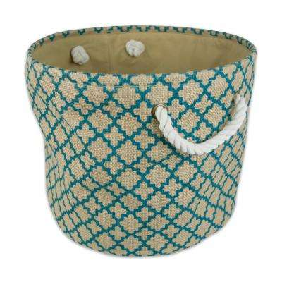 Round Burlap Lattice Decorative Bin