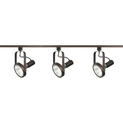 3-Light PAR30 Russet Bronze Gimbal Ring Track Lighting Kit