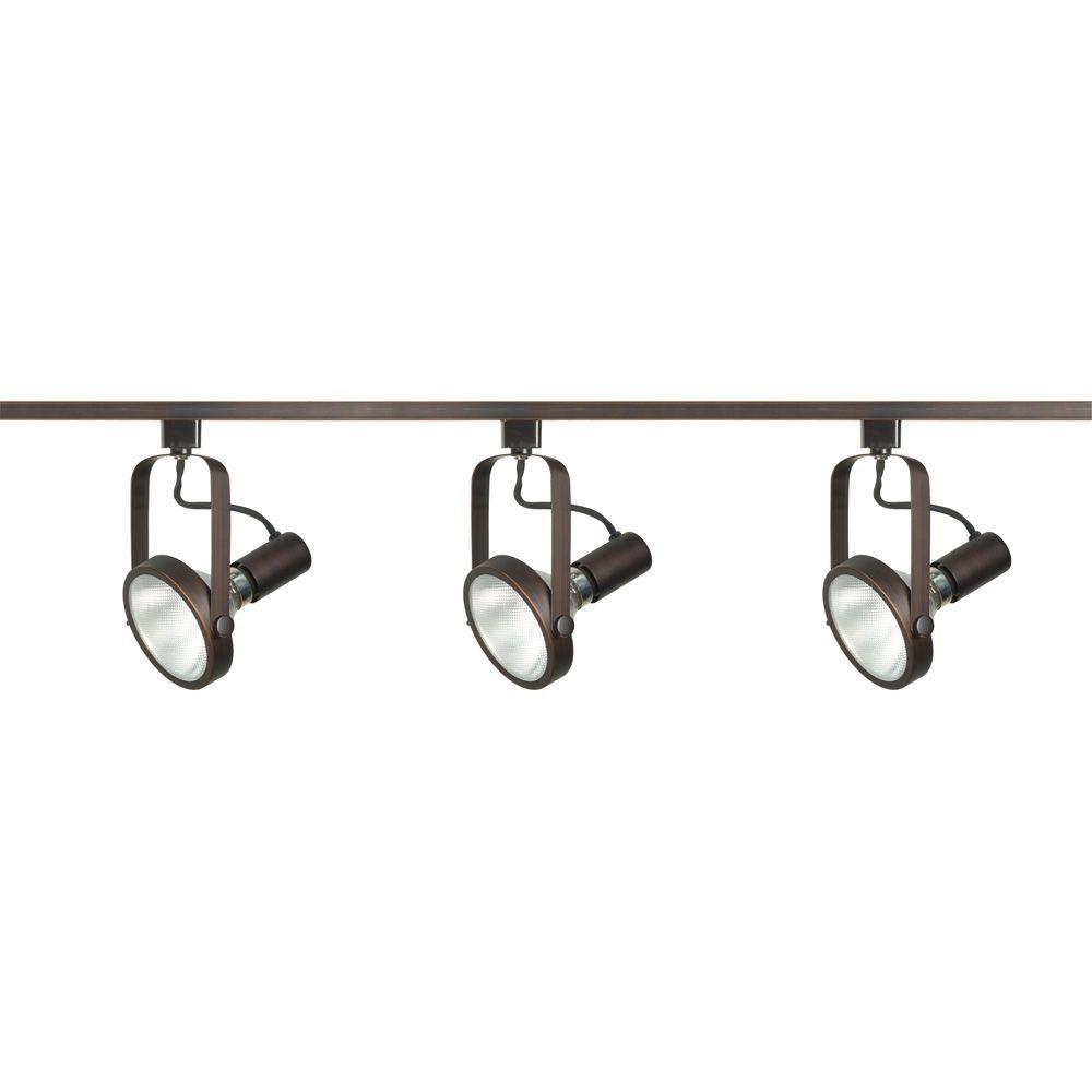 3-Light PAR30 Russet Bronze Gimbal Ring Track Lighting Kit