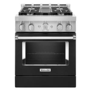 30 in. 4.1 cu. ft. Smart Commercial-Style Gas Range with Self-Cleaning and True Convection in Imperial Black