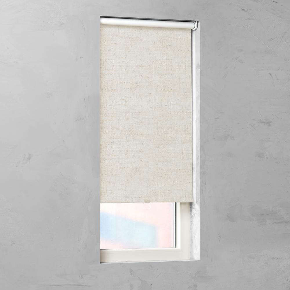 Cocoon Living Cut-to-Size Nature Linen Fabric Blackout Cordless Roller Shade - 63.5 in. W x 72 in. L