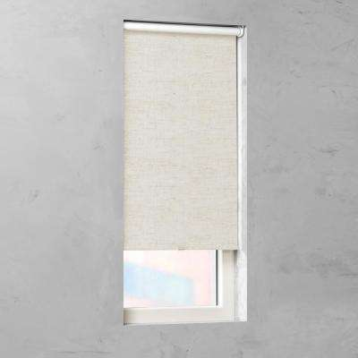 Cut-to-Size Natural Linen Cordless Blackout Fabric Roller Shade 31 in. W x 72 in. L