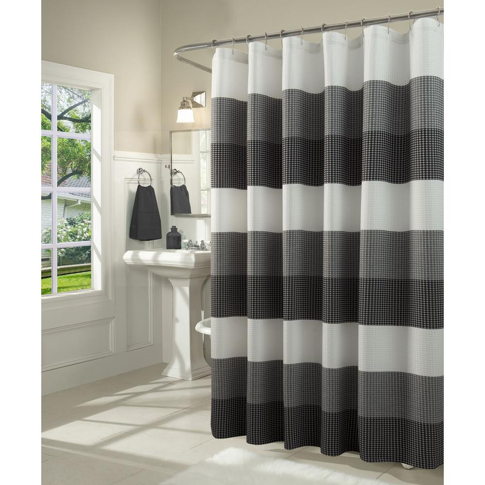Dainty Home Ombre 72 In Black Waffle Weave Fabric Shower Curtain
