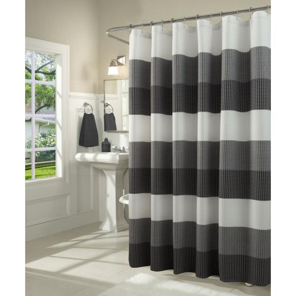 Ombre 70 in. Black Waffle Weave Fabric Shower Curtain
