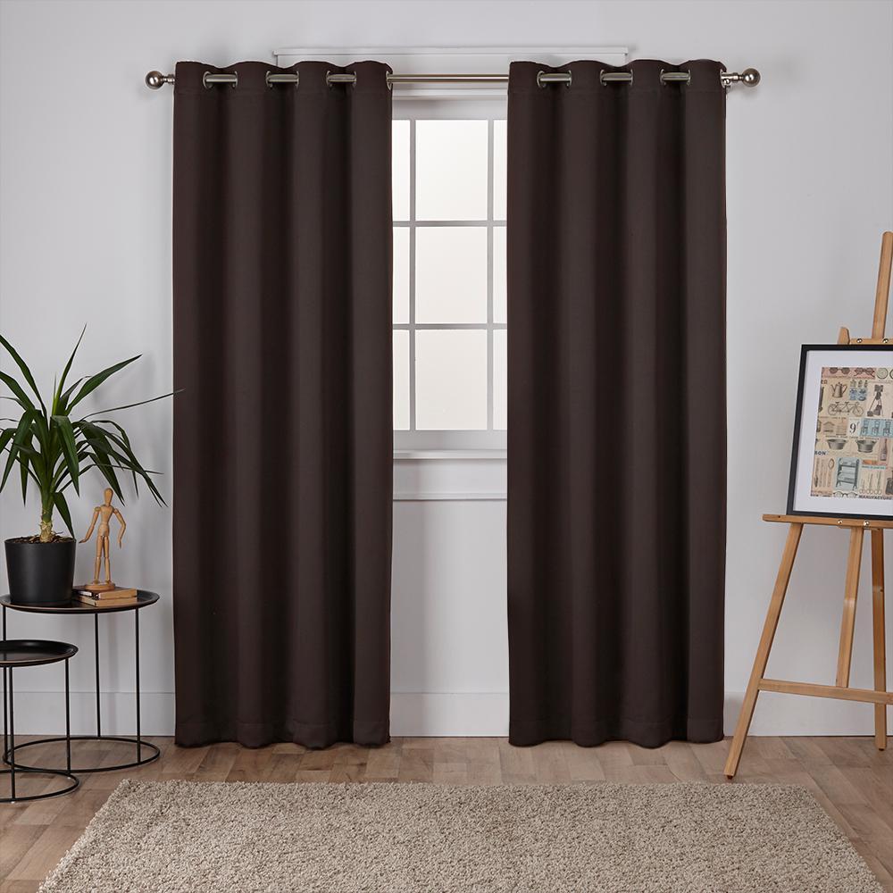 Sateen 52 in. W x 96 in. L Woven Blackout Grommet Top Curtain Panel in Espresso (2 Panels)