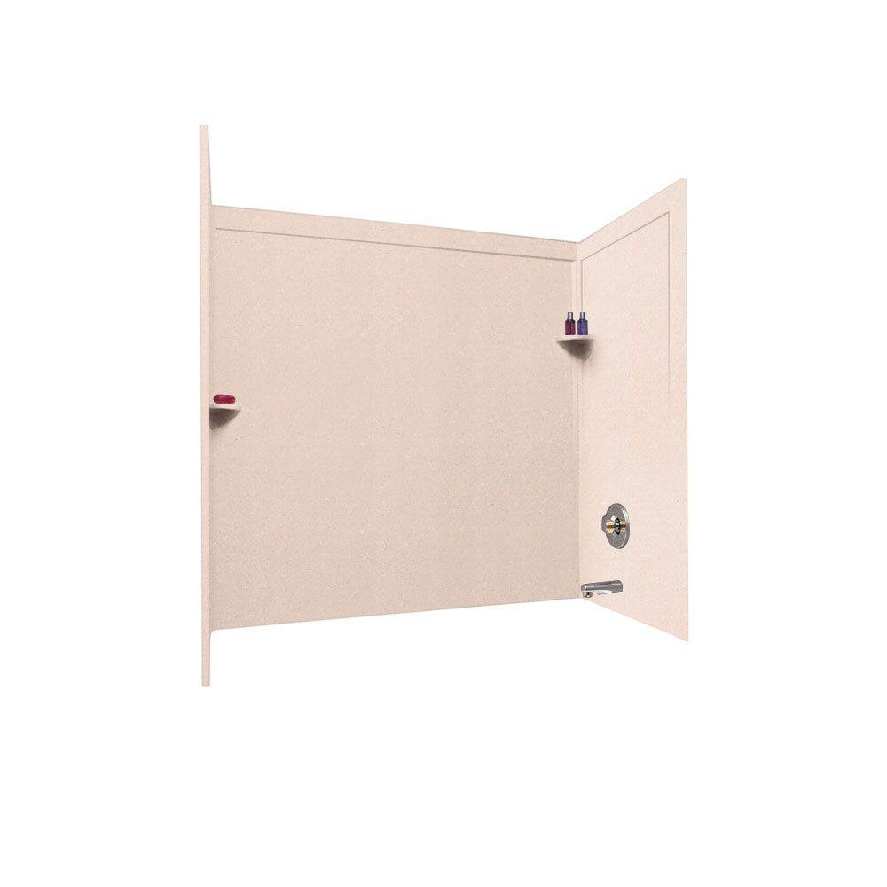Swan 33-1/2 in. x 60 in. x 60 in. Three Piece Easy Up Adhesive Tub Wall in Tahiti Rose-DISCONTINUED