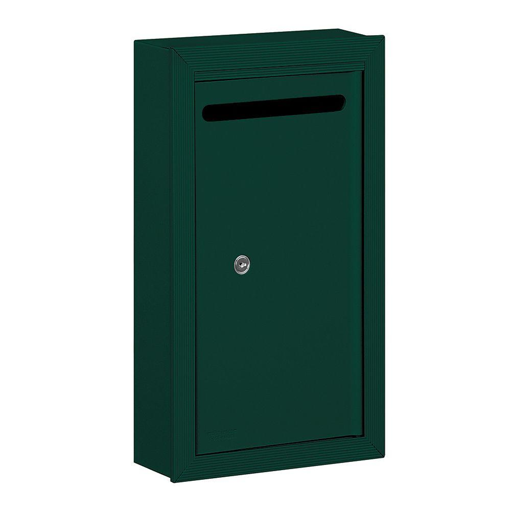 Salsbury Industries 2260 Series Green Slim Surface-Mounted Private Letter Box with Commercial Lock