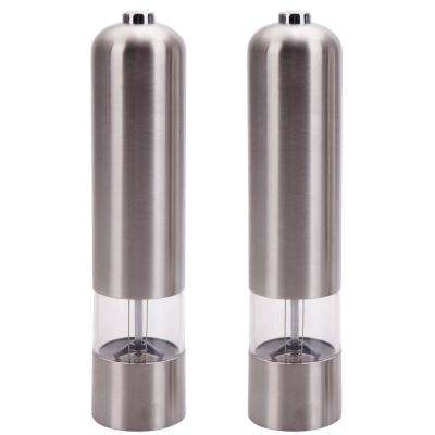 1 in. 2-Piece Stainless Steel Electric Automatic Pepper Mills Salt Grinder Silver