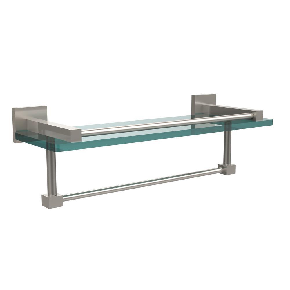 Montero 16 in. L  x 5-1/4 in. H  x 5-3/4 in. W Gallery Clear Glass Bathroom Shelf with Towel Bar in Satin Nickel