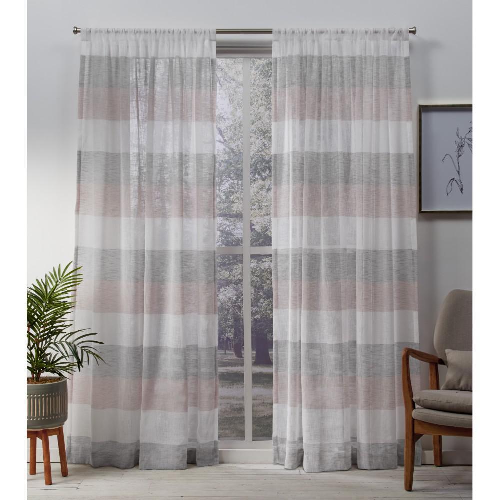 Bern 54 in. W x 84 in. L Sheer Rod Pocket Top Curtain Panel in Blush (2 Panels)