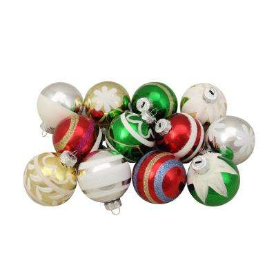 2.25 in. Shiny Vintage Striped Glass Ball Christmas Ornaments (12-Count)