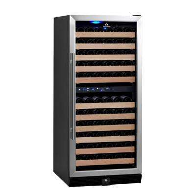 Dual Zone 23.54 in. 106-Bottle Convertible Stainless Steel Wine Cooler