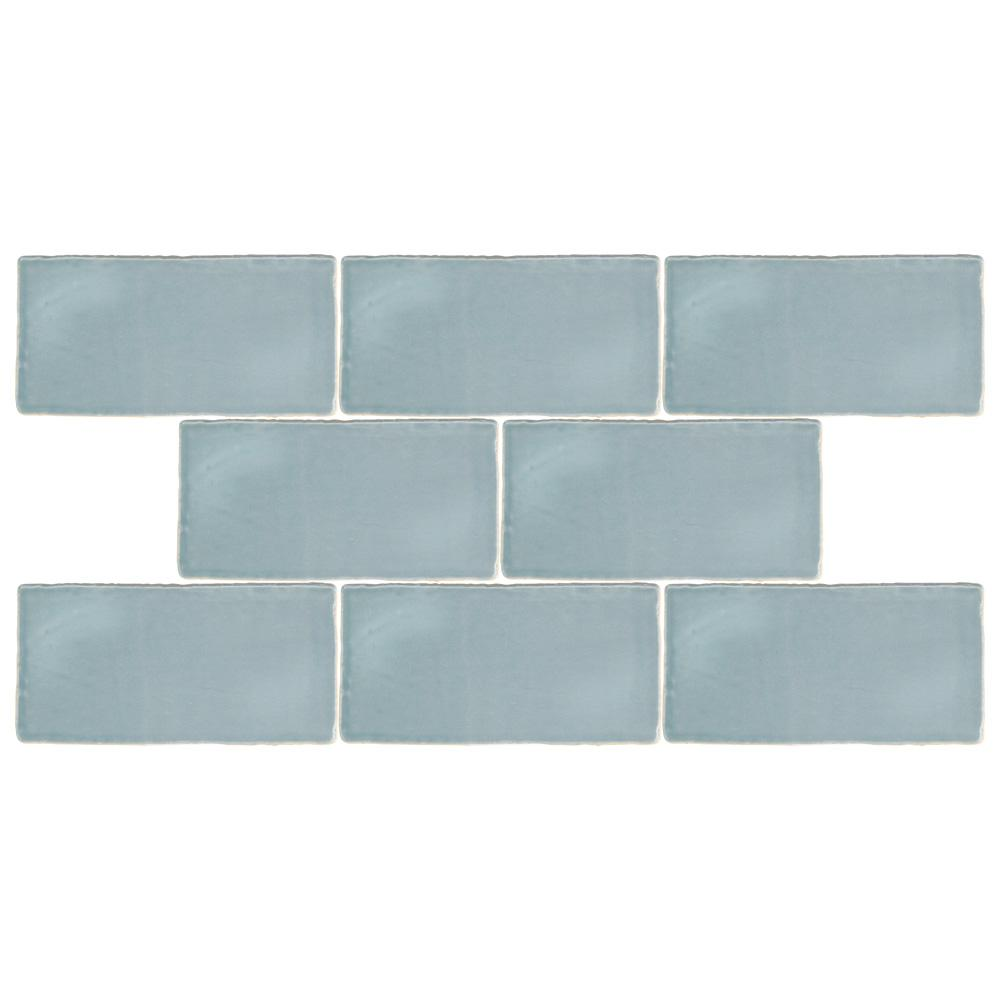 Merola Tile Chester Acqua 3 in. x 6 in. Ceramic Wall Tile (1 sq. ft ...