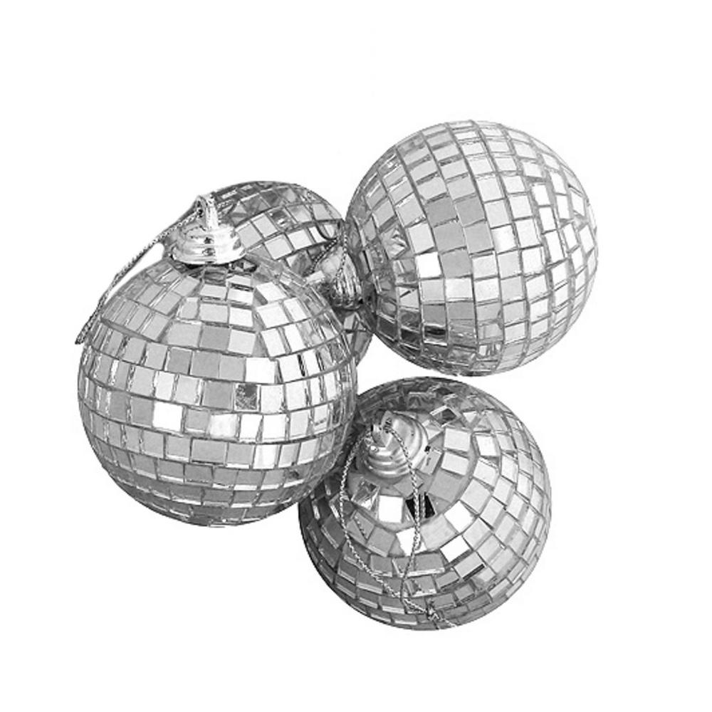 Northlight Silver Splendor Mirrored Glass Disco Ball Christmas Ornaments 4 Count