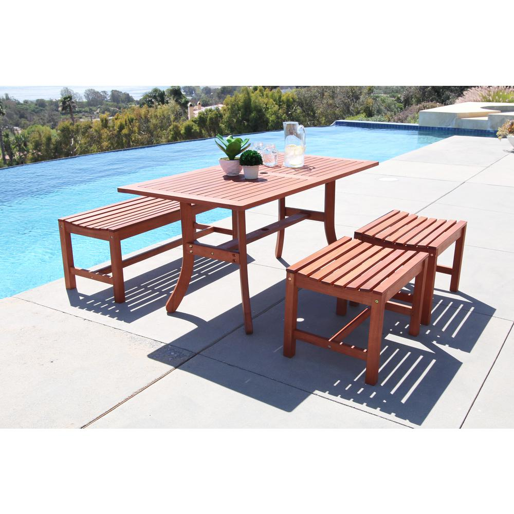 Outdoor dining set backless 4 ft bench wood 4 piece hardwood patio furniture new