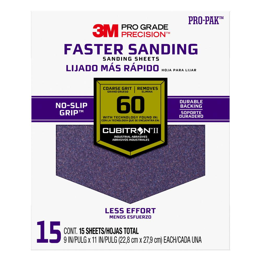 3M Pro Grade Precision Faster Sanding Sanding Sheets, 9 in. x 11 in., 60 Grit, Coarse (15-Pack)