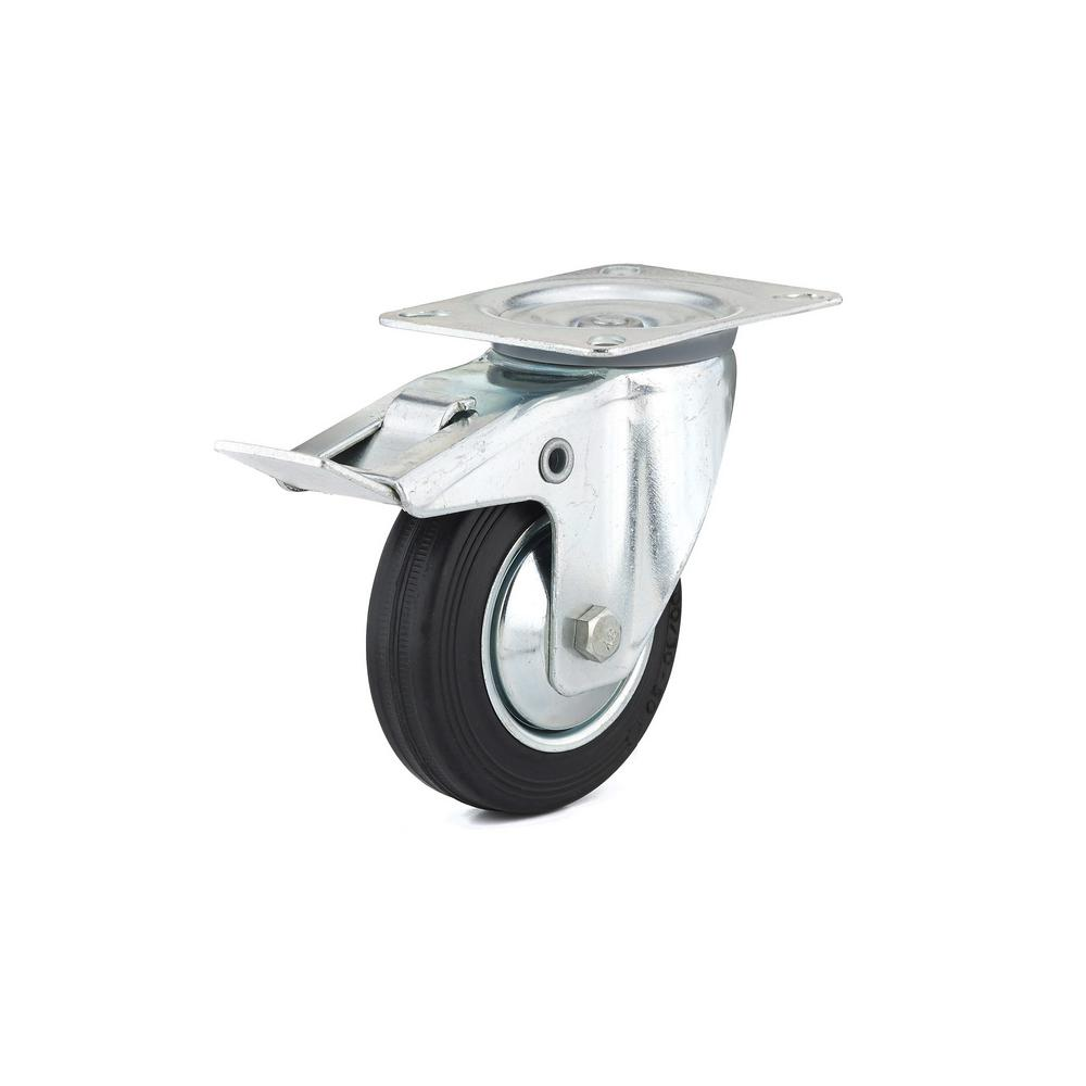 3-15/16 in. black Swivel with Double-Lock Brake plate Caster, 154.4 lb.