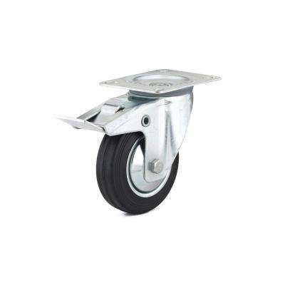 3-15/16 in. black Swivel with Double-Lock Brake plate Caster, 154.4 lb. Load Rating