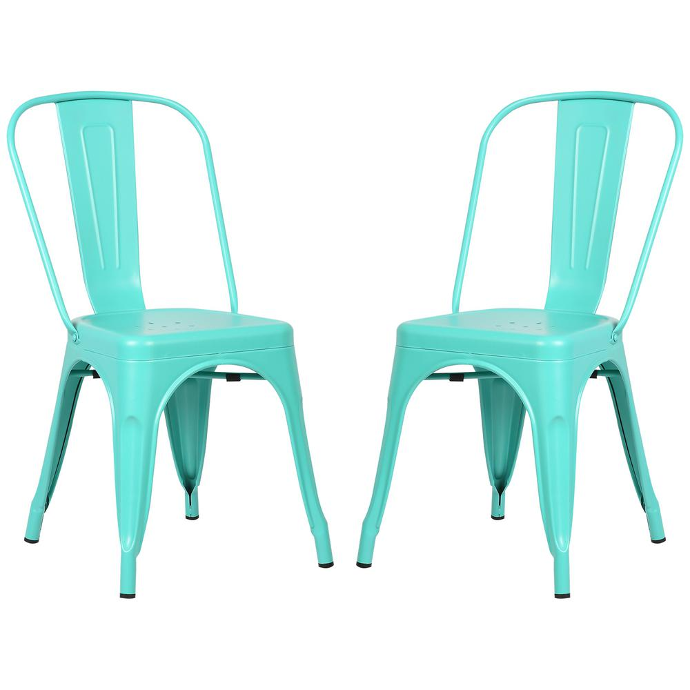 PolyandBark Poly and Bark Trattoria Aqua Side Chair (Set of 2), Blue