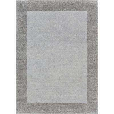 Vettore Felize Grey 5 ft. x 7 ft. Transitional Ombre Border Distressed Area Rug