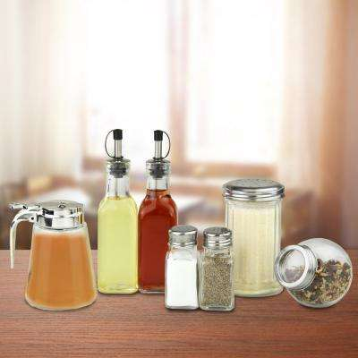 7-Piece Stainless Steel and Glass in Condiment Set
