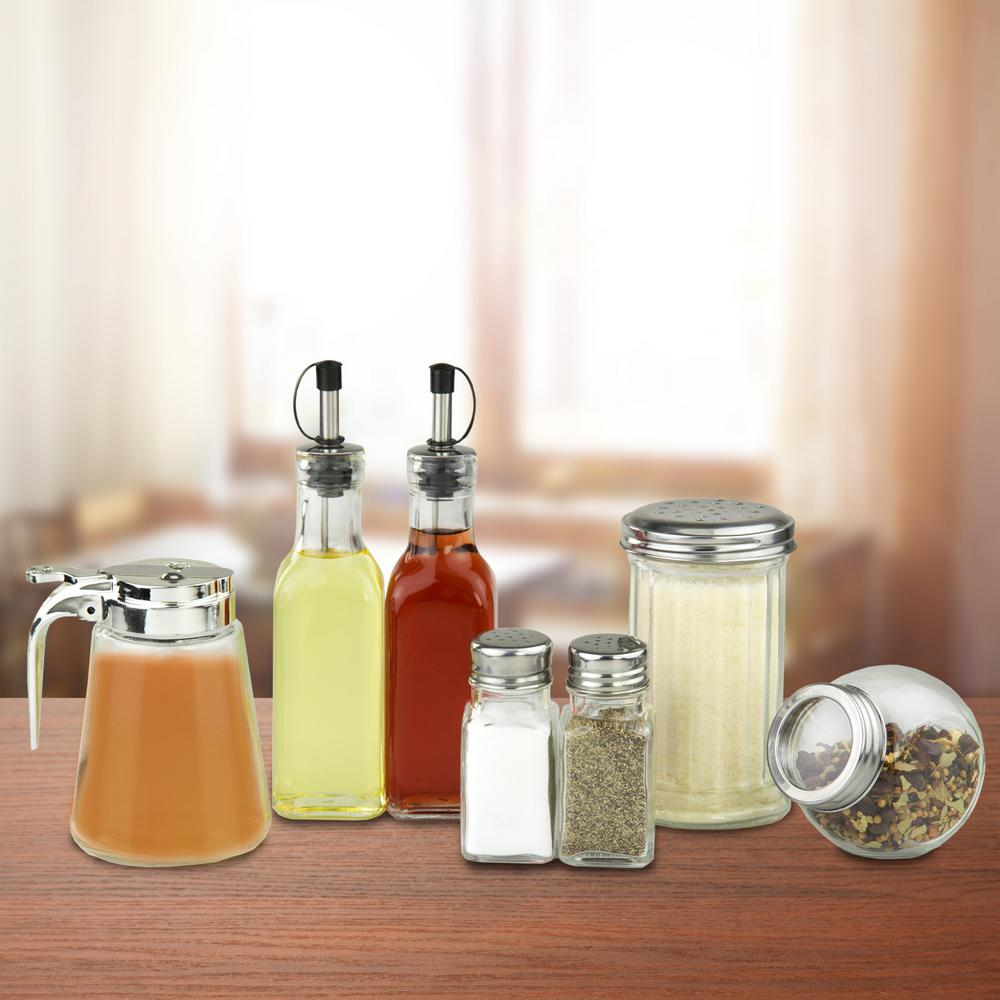 7 Piece Stainless Steel And Glass In Condiment Set