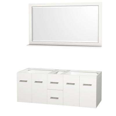 Centra 59 in. Double Vanity Cabinet with Mirror in White
