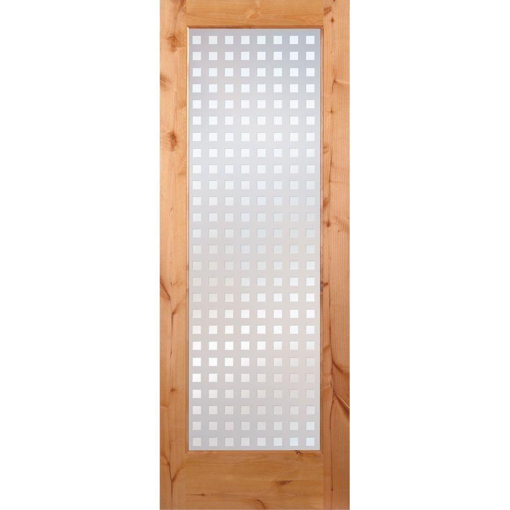 Feather River Doors 24 in. x 80 in. Multicube Woodgrain 1 Lite Unfinished Knotty Alder Interior Door Slab