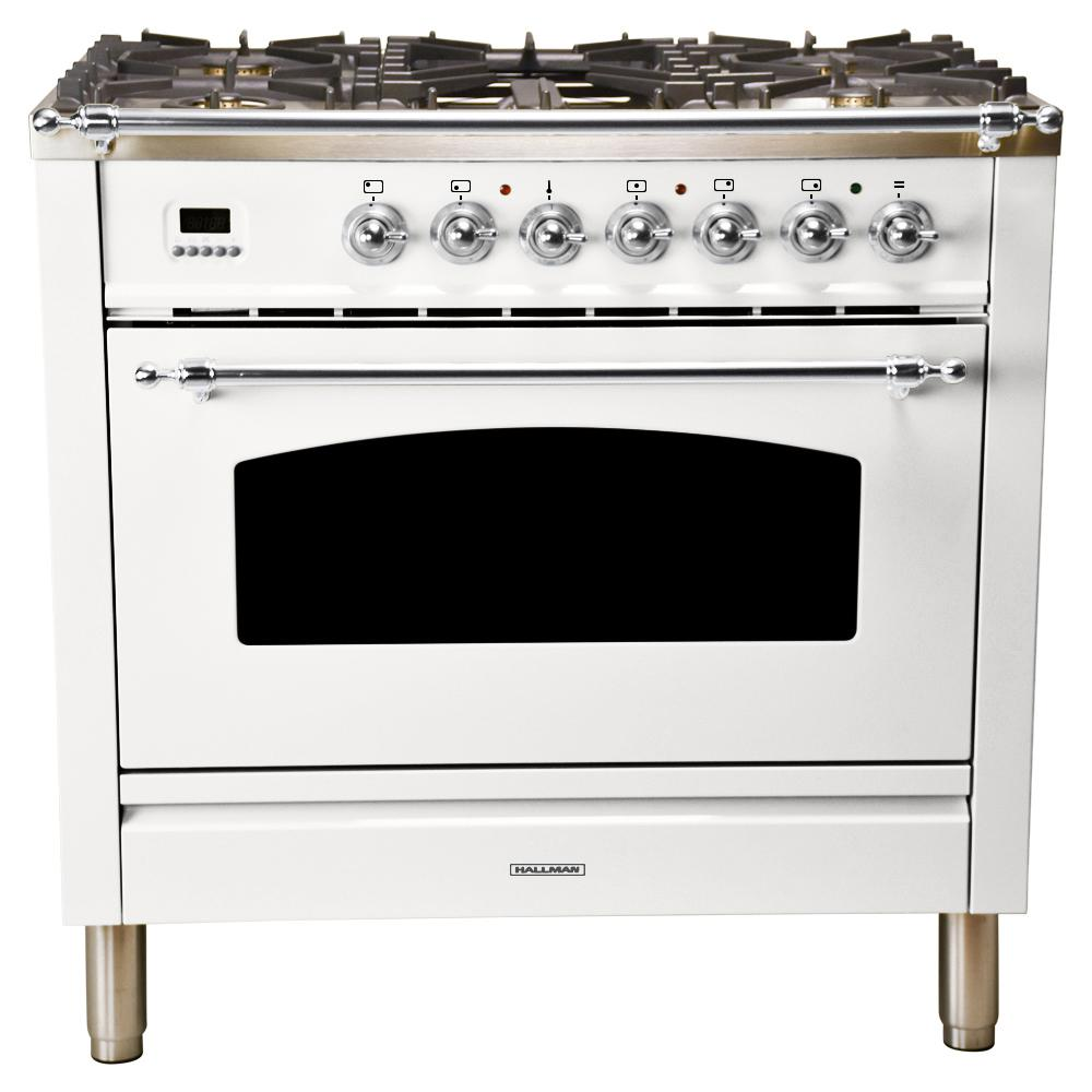 Hallman 36 in. 3.55 cu. ft. Single Oven Dual Fuel Italian Range True Convection,5 Burners, Griddle, LP Gas, Chrome Trim/White