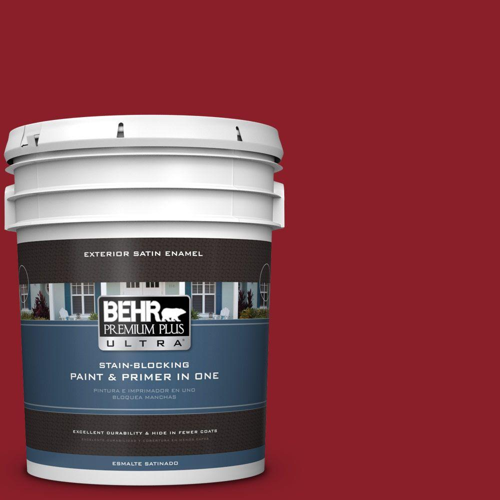 BEHR Premium Plus Ultra 5-gal. #ECC-32-3 Cherry Tree Satin Enamel Exterior Paint